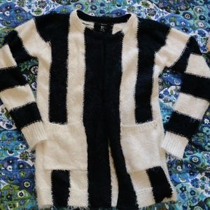NWOT Forever 21 Black and white striped cardigan